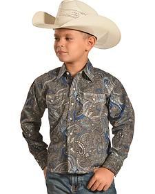 Crazy Cowboy Boys' Paisley Print Western Snap Shirt