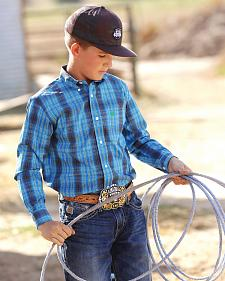 Cinch Boys' Blue Plaid Western Shirt