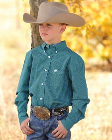 Cinch Boys' Green Print Western Shirt