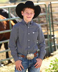 Cinch Boys' Black Print Button Down Western Shirt