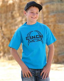 Cinch Boys' Turquoise Logo Short Sleeve T-Shirt