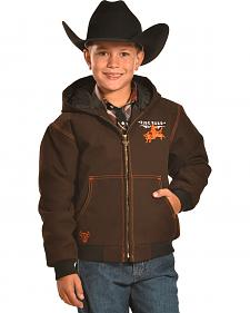 Cowboy Hardware Boys' Brown Ride hard Canvas Hooded Jacket