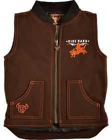 Cowboy Hardware Toddler Boys' Brown Canvas Ride Hard Vest