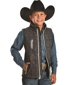 Cowboy Hardware Boys' Black Bucking Horse Vest