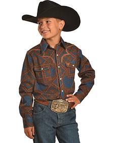 Cowboy Hardware Boys' Bandana Print Western Snap Shirt