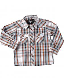Cowboy Hardware Toddler Boys' Orange Plaid Stitch Western Shirt