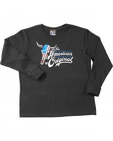 Cowboy Hardware Boys' Black American Original Steer Long Sleeve T-Shirt