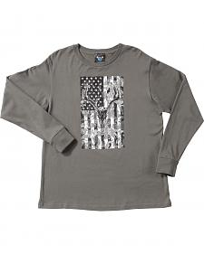 Cowboy Hardware Boy's Skull & Flag Long Sleeve T-Shirt