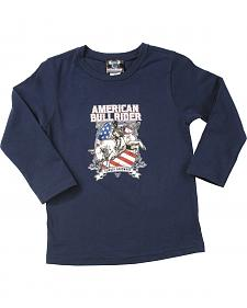 Cowboy Hardware Navy Toddler Boys American Bull Rider Long Sleeve T-Shirt