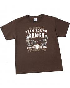 "Cowboy Hardware Boys' Brown ""Team Roping Ranch"" T-Shirt"