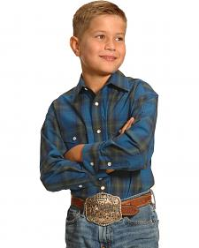 Roughstock by Panhandle Slim Boys' Blue Plaid Kentsdale Western Shirt