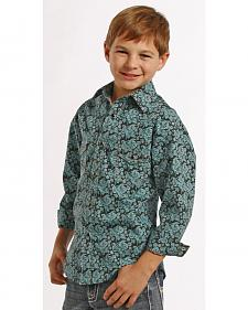 Rock and Roll Cowboy Boys' Turquoise Paisley Snap Western Shirt