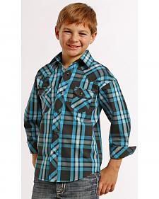 Rock and Roll Cowboy Boys' Ombre Plaid Snap Western Shirt