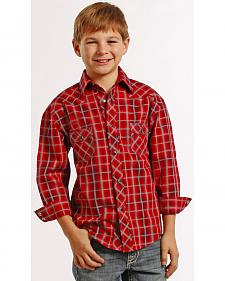 Rock and Roll Cowboy Boys' Red Plaid Snap Western Shirt