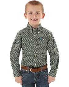 Wrangler 20X Boys' Olive Print Snap Shirt