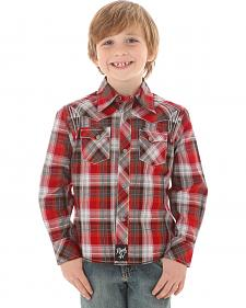 Wrangler Rock 47 Boys' Red & Grey Plaid Snap Shirt