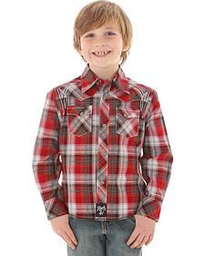 Wrangler Rock 47 Boys' Red & Grey Plaid Snap Shirt