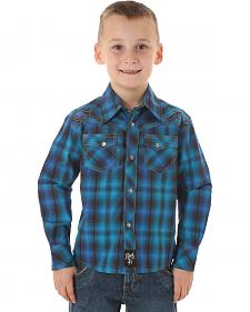 Wrangler Rock 47 Boys' Blue & Black Plaid Snap Shirt