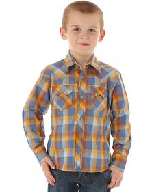 Wrangler Boys' Blue & Brown Western Jean Shirt
