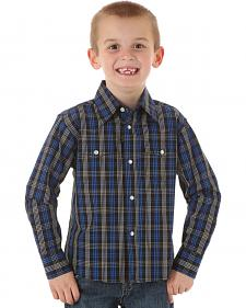 Wrangler Boys' Wrinkle Resist Black & Blue Plaid Shirt