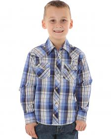 Wrangler Boys' Blue Plaid Western Fashion Snap Shirt