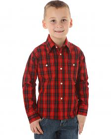 Wrangler Boys' Wrinkle Resist Black & Red Plaid Shirt