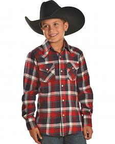 Ely Cattleman Boys' Red Plaid Flannel Western Snap Shirt