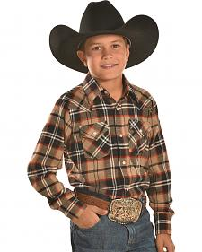 Ely Cattleman Boys' Brown Plaid Flannel Western Snap Shirt