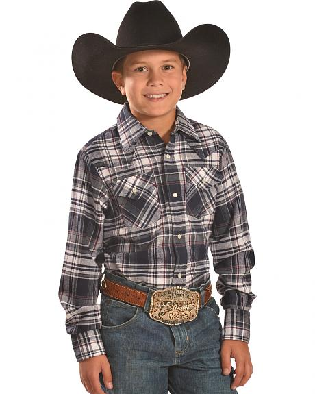 Ely Cattleman Boys' Navy Plaid Flannel Western Snap Shirt