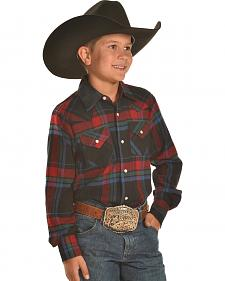 Ely Cattleman Boys' Black and Red Plaid Flannel Western Snap Shirt