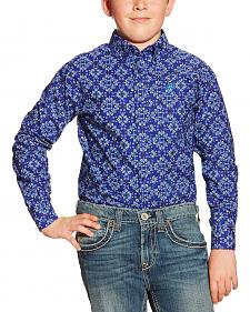 Ariat Boys' Blue Print Dante Long Sleeve Shirt