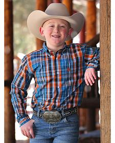 Cinch Boys' Blue and Orange Plaid Western Shirt