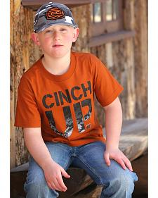 Cinch Boys' Orange Logo T-Shirt