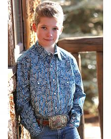 Cinch Boys' Blue Paisley Western Snap Shirt
