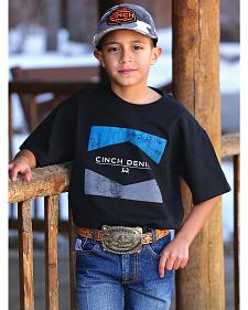 Cinch Boys' Black and Blue Logo T-Shirt