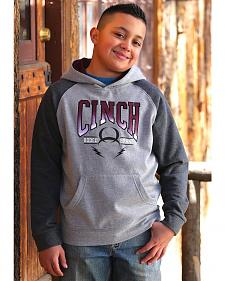 Cinch Boys' Heather Grey Logo Hoodie