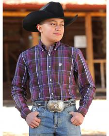 Cinch Boys' Burgundy Plaid Western Shirt