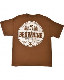 Browning Youth Boys' Brown Buckmark T-Shirt