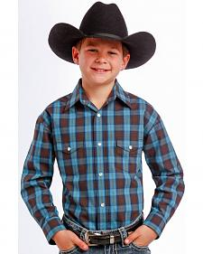 Rough Stock by Panhandle Slim Boys' Teal and Black Plaid Western Shirt