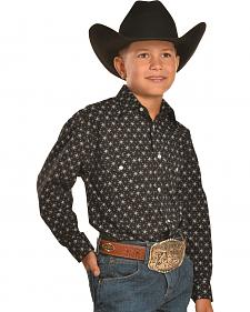 Rough Stock by Panhandle Slim Boys' Black Print Western Snap Shirt