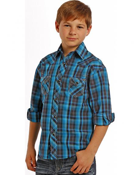 Rock and Roll Cowboy Boys' Turquoise Plaid Western Snap Shirt