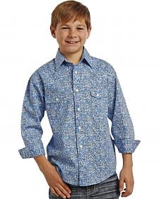 Rock and Roll Cowboy Boys' Blue Swirl Two Pocket Snap Western Shirt