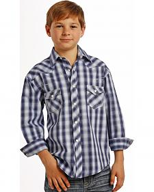 Rock and Roll Cowboy Boys' Grey Plaid Western Snap Shirt
