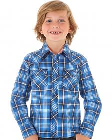 Wrangler Boys' Blue Plaid Long Sleeve Shirt
