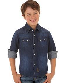 Wrangler Boys' Denim Long Sleeve Shirt