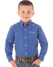 Wrangler Boys' Blue Geo Print Long Sleeve Shirt