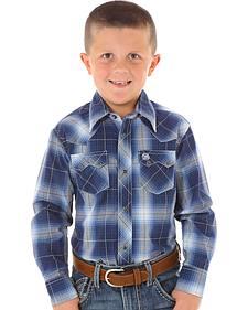 Wrangler Boys' Blue Ombre Plaid Long Sleeve Shirt