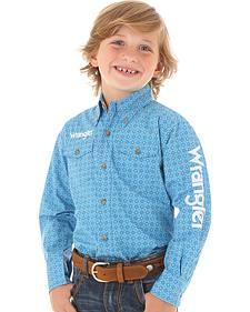 Wrangler Boys' Blue Geo Print Logo Long Sleeve Shirt