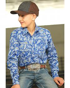 Cinch Boy's Blue Paisley Print Western Shirt