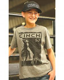 Cinch Boy's Grey Front Screen Print T-Shirt